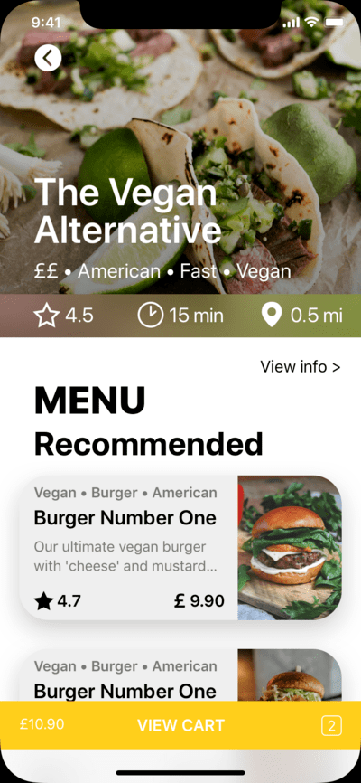 RESTAURANT mobile application main page